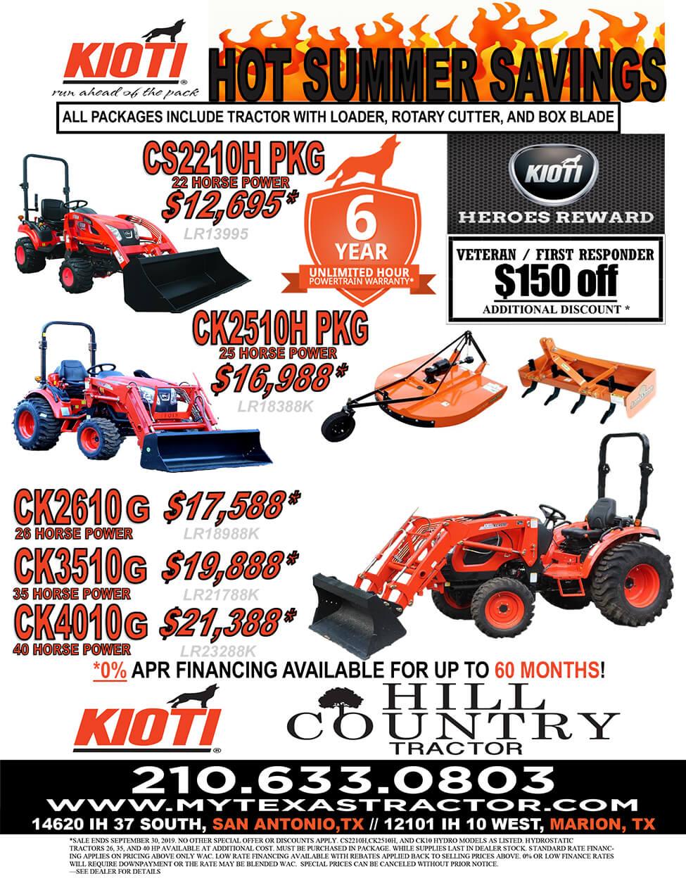 Kioti Packages | My Texas Tractor | Elmendorf TX | 45 Years